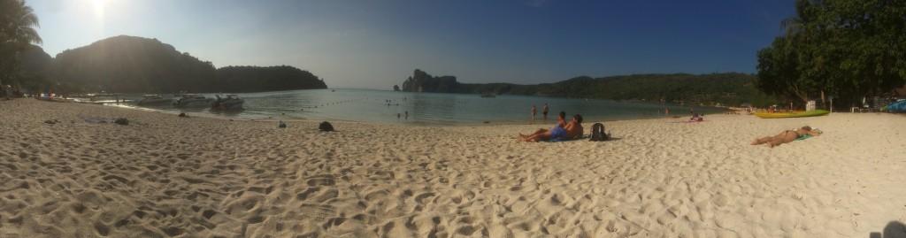 Een panorama foto van het strand, want het strand pastte niet op een normale foto.